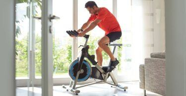 riding an exercise bike